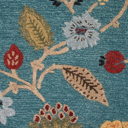 Jaipur - Country & Floral Blue 5'x8' Rectangle Peacock Blue Area Rug - The Blue area rug Collection offers an affordable assortment of Country & Floral stylings. Blue features a blend of natural Peacock Blue color. Hand Tufted of 70% Wool 30% Art Silk the Blue Collection is an intriguing compliment to any decor.