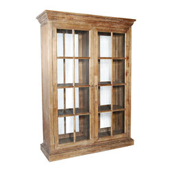 Ambella Home - Voranado Bookcase - This bookcase is uniquely designed to act as a room divider. Made from white cedar, it's finished on both sides in dark driftwood and features two glass doors on both sides. Position it in your space and fill with books, sculptures and decorative accents for a unique look.