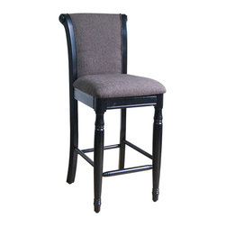 None - Kinfine Brown Chenille Bar Stool - Provide a distinct piece to your bar,dining,office or bedroom with this Brown Chenille bar stool from Kinfine USA. This attractive bar stool features a fabric upholstery and a black finish on the solid wood legs.