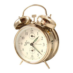 STERNREITER - Sternreiter Double Bell Alarm Clock, Silver - This alarm clock features: