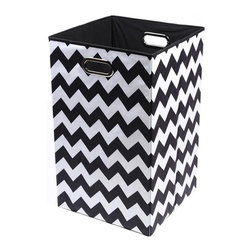 Modern Littles - Bold Chevron Folding Laundry Basket - Are you toting around your laundry from floor to floor in a bag? Or worse, you have no laundry bin at all and everything winds up on the closet floor? This cool, colorful basket will solve your problem and the reinforced handles make it easy to move from room to room.