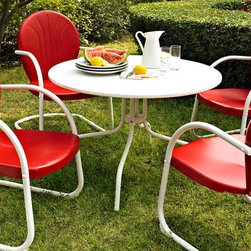 Crosley Furniture - 5-Pc Sturdy Steel Dining Set - Includes table and four chairs. Easy to assemble. UV resistant. ISTA 3A certified. Warranty: 90 days. Made from steel. White and red color. Assembly required. Table: 40 in. W x 40 in. D x 30 in. H (86.5 lbs.). Chair: 28.5 in. W x 21 in. D x 34.5 in. H (15 lbs.)Relax outside for hours on our nostalgically inspired Griffith outdoor furniture. Kick back while you reminisce in this outdoor dining set, designed to withstand the hottest of summer days and other harsh conditions. The furniture sets complement your outdoor accessories.