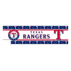Sports Coverage - MLB Texas Rangers Self Stick Wall Border - It's so quick and amazing, just peel and stick! Self-stick, removable, and reusable MLB Texas Rangers Wall Borders are the easy way to decorate and won't damage walls! Peel and Stick technology will adhere to any smooth surface. Washable and dry strippable. Colorful graphics are printed on durable, tear-resistant vinyl wall border in the repeating pattern shown. Size: 5 x 15' long per package. It's so quick and amazing, just peel and stick! Installation has never been so easy!