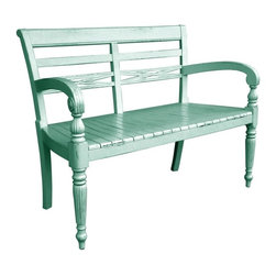 EuroLux Home - New Two-Seat Bench Blue Painted Hardwood - Product Details
