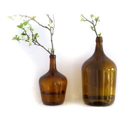 Vintage Brown Glass Bottle Amber Glass By FrenchMelody - These are vintage European demijohns.