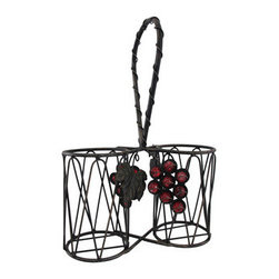 Metal 2 Bottle Tabletop Wine Basket with Grapes - This beautiful wine basket makes a wonderful gift! It holds 2 bottles of your favorite wine and features 2 bunches of glass grapes and a couple of grape leaves. Made of metal with an antiqued finish, it measures 15 inches tall including the handle, 10 inches wide, and 4 inches deep.