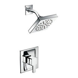 "Moen - Moen TS3715 90 Degree Moentrol Single Handle Shower Faucet Trim in Chrome - Moen TS3715 90 Degree Moentrol Single Handle Shower Faucet Trim in ChromeWith its ultra-contemporary styling, 90 Degree brings a clean, minimalist aesthetic to the home.Note: Valve Not IncludedMoen TS3715 90 Degree Moentrol Single Handle Shower Faucet Trim in Chrome, Features:• Lever handle• Moentrol pressure-balancing valves (Not Included) deliver perfect water coverage, force and flow and have temperature memory to prevent hot and cold surges• 6"" diameter rainshower showerhead• Full spray• Moen's advanced, self-pressurizing Immersion rainshower technology channels water through the showerhead with three times more spray power than most rainshowers• Includes arm and flange• ADA Compliant• Valve Required (Sold Separately)Requires: Moen-3510 Moen-3510 M-PACT Moentrol Pressure Balancing Rough-in Valve (1/2"" IPS), or Moen-3520 Moen-3520 M-PACT Moentrol Pressure Balancing Rough-in Valve (1/2"" CC), or Moen-3570 Moen-3570 M-PACT Moentrol Pressure Balancing Rough-in Valve with Stops (1/2"" CC)Specification Sheet- Moen TS3715Moen Installation Instructions  Moen Limited Lifetime WarrantyView the Entire Moen 90 Degree CollectionView All"