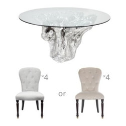 Z Gallerie - Chic Combo - Sequoia Dining Table + 4 Waterloo Dining Chairs - Above price includes 15% off