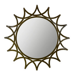 Safavieh - New Mayan Star Mirror MIR4018A - The New Mayan Star mirror has all the ingredients of modern luxury. With just the right amount of industrial chic, and a hint of Mayan inspiration, its warm amber finish and hand-forged iron frame transform any space into an urban oasis.