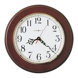 HOWARD MILLER - Brentwood Quartz Wall Clock - Offers an off white dial and brass Finished bezel.