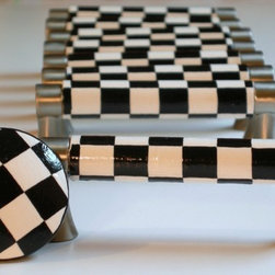 Hand Painted Black and White Checkered Drawer Pulls by Leila's Loft - Hand-painted drawer pulls are so cute!