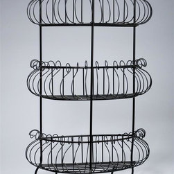 AA Importing - 3-Tier Scrolled Wire Shelving Unit in Black P - 3-Tier. Black painted wire. 15 in. L x 7 in. W x 24 in. H