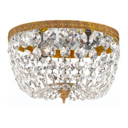 Crystorama - Richmond Flush Mount - Clear Hand Cut Crystal Basket. Takes 2 - 60 w/c bulbs.
