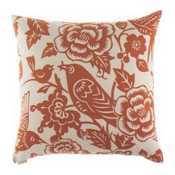 "Canaan - 24"" x 24"" Billybird Tangerine Bird and Floral Print Fabric Throw Pillow - 24"" x 24"" Billybird tangerine bird and floral print fabric throw pillow with a feather/down insert and zippered removable cover. These pillows feature a zippered removable 24"" x 24"" cover with a feather/down insert. Measures 24"" x 24"". These are custom made in the U.S.A and take 4-6 weeks lead time for production."