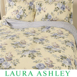 Laura Ashley - Laura Ashley Linley Reversible 2-piece Twin-size Quilt Set - This Laura Ashley quilt set sports a yellow and blue floral print. This quilt is fully reversible to a striped back.