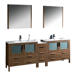 "Fresca - Torino 84"" Walnut Brown Double Sink Vanity w/ Side Cabine Cascata Chrome Faucet - Fresca is pleased to usher in a new age of customization with the introduction of its Torino line.  The frosted glass panels of the doors balance out the sleek and modern lines of Torino, making it fit perfectly in eithertown or country decor."