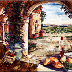 The Tile Mural Store (USA) - Tile Mural - Colour Of Fall - Kitchen Backsplash Ideas - This beautiful artwork by Karen Stene has been digitally reproduced for tiles and depicts a beautiful tuscany vineyard and wine scene.  Our kitchen tile murals are perfect to use as part of your kitchen backsplash tile project. Add interest to your kitchen backsplash wall with a decorative tile mural. If you are remodeling your kitchen or building a new home, install a tile mural above your stove top or install a tile mural above your sink. Adding a decorative tile mural to your backsplash is a wonderful idea and will liven up the space behind your cooktop or sink.