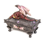KOOLEKOO - Pink Dragon Treasure Box - Whatever you choose to keep in this finely detailed treasure box will be safeguarded by a scaly pink dragon in repose, whose vigilant watch never strays from his bejeweled surroundings. Purple faceted jewels and a relief of the dragon himself, with wings spread, highlight the base of the treasure box that rests on curved feet.