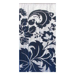 "Bamboo54 - Bamboo Black and White Floras - Bamboo54 black and white floras scene is made from authentic bamboo and hand strung. One curtain contains 90 strands across and is the perfect door hanging accessory. Hand painted on both sides. Measures approximately 36"" x 80"""