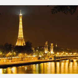 Contemporary Paris Wall Mural - This easy-to-install wall mural is printed on vinyl-coated paper for an elegant sheen.