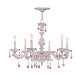 Crystorama - Crystorama 5036-AW-RO-MWP Chandelier - The Sutton Collection uses distressed gold brush strokes over an Antique White finish to remind us of a Paris flea market. The combination of wrought iron with Rose crystal accents makes this fixture both timeless and whimsical. This Paris Flea chandelier The combination of wrought iron with Rose crystal accents makes this fixture both timeless and whimsical. Each crystal is polished on a wood wheel with marble dust.