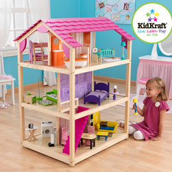 "KidKraft - So Chic Dollhouse - Features: -Doll house. -Three levels and 10 rooms. -45 Pieces of furniture. -Rolls on casters. -Multi play from all sides. -Accommodates fashion dolls up to 12"" tall. -Can be played from all 4 open sides and an extraordinary amount of detail. -Assembly required. -90 Days warranty."