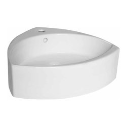 Renovators Supply - Vessel Sinks White Ellipse Vessel Sink 20 1/8 W - Over Counter Sink. Accepts single hole faucet (not included). Sophisticated yet simple. Note: does not mount onto wall.