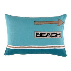 Lacefield Designs - Lacefield Designs Turquoise and Plasma Beach Directions Pillow - Turquoise and Plasma Beach Directions 13 X 19 Pillow