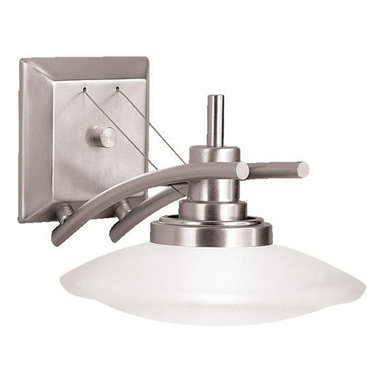 Kichler 1-Light Wall Mount - Brushed Nickel - One Light Wall Mount. The structures collection proves that one style can take on numerous forms. Structures lighting employs universal shape to create modern, aesthetically pleasing lighting capable of unmatched versatility, forming a unique and eclectic style all its own. The structures motif, along with our brushed nickel finish and satin-etched glass, gives a timeless, clean feel to the fixtures, capable of matching any decor. To add the right amount of light to your rooms' walls the structures collection offers this unusual wall sconce. At 9 wide and 7 high this sconce is the perfect size to fit anywhere while the 100-watt bulb provides ample light. It comes with t-3 or t-4 mini-can base and tungsten halogen lamp included to create a wonderful balance of lighting power with innovative design.