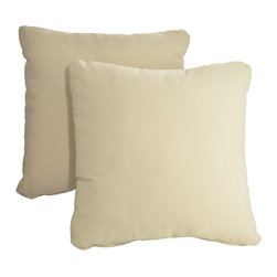 """Dola - Outdoor Patio Accent Pillows, Beige - Enhance the look of your outdoor furniture with the Verano outdoor throw pillow. Comfort is just as important for the patio as it is for inside your home, so dress up your sectional or conversation set with patio furniture pillows. These stylish outdoor, 15"""" x 15"""" weather resistant accent pillows in beige will compliment any patio furniture. Made from 100% polyester, they come with zippered covers which are removable for easy washing. For purchase in sets of two."""