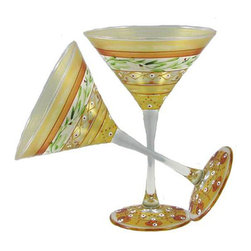 Mosaic Gold Garland Martini Glasses   Set of 2 - This lovely hand painted martini glass is from our Mosaic collection and inspired by the colorful tiles of the Alhambra.  Something to be handed down from generation to generation.  Proudly hand painted in the USA.