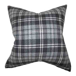 The Pillow Collection - Baxley Gray 18 x 18 Plaid Throw Pillow - - Pillows have hidden zippers for easy removal and cleaning  - Reversible pillow with same fabric on both sides  - Comes standard with a 5/95 feather blend pillow insert  - All four sides have a clean knife-edge finish  - Pillow insert is 19 x 19 to ensure a tight and generous fit  - Cover and insert made in the USA  - Spot clean and Dry cleaning recommended  - Fill Material: 5/95 down feather blend The Pillow Collection - P18-D-32446-GREY-WOOL