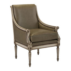 John Richard - John Richard Aiden Lounge Chair AMF-1255V53-SAGE-AS - Aiden lounge chair shown in V53 Trentino Grey Finish and Sage leather.
