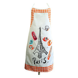 Provence Imports - Paris Bistro Cotton Apron - Orange - This fun apron includes the main aspects of proper French life: baguette, cheese, croissant, espresso, wine bottle, wine glass, chef hat and -- of course -- the Eiffel tower! Printed in vibrant colors on soft cotton with an orange bistro check border, it is ready for work.