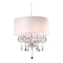 WAREHOUSE OF TIFFANY - Camilla Crystal Chandelier - This Camilla crystal chandelier creates a glamorous sparkling pendant that complements your modern look.