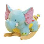 Rockabye - Rockabye Elijah Elephant Rocker - Little explorers will never forget rocking for hours through the lush jungles of their imagination. Elijah big soft ears have crinkle in them his trunk has a squeaker luxurious materials throughout and soft multi-patterned blanket seat make for a comfortable ride. Don't be afraid of his little friend stomp the mouse following him through the jungle even though Elijah might be! this wonderful heirloom quality rocker now comes with an educational component. Located on the back of the head baby will find 4 shaped buttons that activate original songs that teach ABC 1-10 colors shapes and more. Sure to please baby as well as mom and dad!