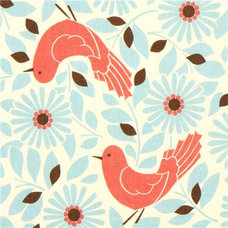 Fabric cute Kokka fabric with red bird and blue flowers