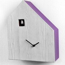 Cemento Clock - Simplicity is the key here. Who says a cuckoo clock has to be made of ornately carved mahogany wood and look like a Swiss bird house? For you modern-day bird lovers, this is the perfect clock for a kitchen or family room. I love the bright color banding around the sides.