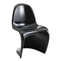 Modway - Slither Dining Side Chair in Black - Sleek and sturdy, rock back and forth in comfort with this injection molded marvel. Constructed from a single piece of strong ABS plastic, the s shaped Slither chair can be found in many fashionable settings. Perfect for dining areas in need of a little zest, the design is versatile, fun and lively. Surprisingly cushy, choose from a selection of vibrant colors that wont fade over time. Slither is also perfect for spaces short on room.