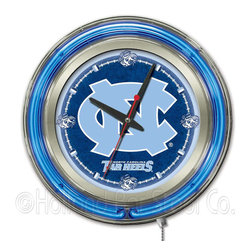 Holland Bar Stool - Holland Bar Stool Clk15NorCar North Carolina Neon Clock - Clk15NorCar North Carolina Neon Clock belongs to College Collection by Holland Bar Stool Our neon-accented Logo Clocks are the perfect way to show your school pride. Chrome casing and a team specific neon ring accent a custom printed clock face, lit up by an brilliant white, inner neon ring. Neon ring is easily turned on and off with a pull chain on the bottom of the clock, saving you the hassle of plugging it in and unplugging it. Accurate quartz movement is powered by a single, AA battery (not included). Whether purchasing as a gift for a recent grad, sports superfan, or for yourself, you can take satisfaction knowing you're buying a clock that is proudly made by the Holland Bar Stool Company, Holland, MI. Clock (1)