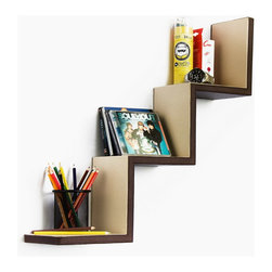 Blancho Bedding - [Utility Brown] Ladder-Shaped Leather Shelf / Bookshelf / Floating Shelf - These beautifully crafted Wall Mounted Shelves display the art of woodworking and add a refreshing element to your home. Versatile in design, these leather wall shelves come in various colors and patterns. They spice up your home's decor, and create a multifunctional storage unit for all around your home. These elegant pieces of wall decor can be used for various purposes. It is ideal for displaying keepsakes, books, CDs, photo frames and so much more. Install as shown or you may separate the shelves to create a layout that suits your taste and your style. Each box serves as a practical shelf, as well as a great wall decoration.