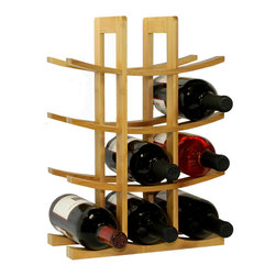 Oceanstar 12-Bottle Natural Bamboo Wine Rack WR1149 - Made with 100% eco-friendly bamboo, the 12-Bottle Bamboo Wine Rack from Oceanstar Design Collection is the ideal fit for wine enthusiasts or starters beginning their wine collection. Present this wine rack to someone special or as a wonderful housewarming and Christmas gift.  Its modern design is the perfect complement to any home decor and countertop. Your houseguests will surely be impressed by the beautiful display of your collection.
