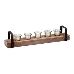 Kathy Kuo Home - Clifton Rustic Reclaimed Chunky Wood Iron Votive Candle Holder - Warm ambience is a hallmark of rustic style, and this minimalist candleholder delivers plenty with five votive flickering from within the imperfect beauty of mercury glass.  Raw iron handles add portability and function.  This would be a lovely addition to farmhouse tables, rustic mantelpieces and minimalist modern apartments.