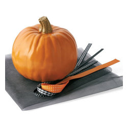 "Grandin Road - Pumpkin Decorating Kit - Halloween Decorations and Decor - Each kit beautifies up to three ordinary pumpkins in a snap. Three 30"" squares of black tulle. Three styles of black and orange printed ribbon, 3 yards each. Pumpkin not included. Our chic Pumpkin Decorating Kit invites you to skip the carving and add instant flair.  .  .  .  . A Grandin Road exclusive."