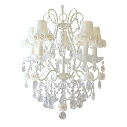 5 Light Chandelier with Cream Rose Shades - This lovely vintage-inspired 5-light chandelier has been painted a beautiful ivory and adorned with gorgeous Dupioni Silk cream shades, trimmed with sweet Mulberry paper roses. Fancy-cut Glass Bobeches, plenty of crystal teardrop prisms and layers of crystal chain swags add loads of glam and sparkle!  Truly lush and undeniably romantic... This chandelier is simply dreamy!