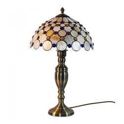 ParrotUncle - Sea Shell Peacock Tail Tiffany Style Table Lamp - The Tiffany Lighting fixture has been a staple in interior design since the late 1800s and is still as fashionable today. As a part of the Art Nouveau movement,this Sea Shell Peacocok Tail Tiffany Style Table Lamp are a fabulous choice especially if your decor is vintage inspired or Victorian. Made up of several pieces of stained glass, these are timeless light fixtures that will never go out of style.