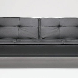 "Innovation USA - ""Innovation USA"" Splitback Sofa Bed in Black Leather Textile - The modernistic design of this ""Innovation USA"" Splitback Sofa Bed in Black Leather Textile is classic and yet innovative. Splitback has clean-cut legs in stainless steel and is upholstered with high quality pocket springs and foam. The image shown may be slightly different from the original.    Features:"