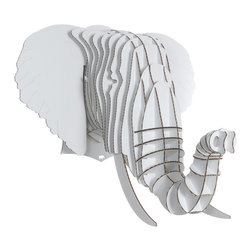 Cardboard Safari - Eyan Elephant, White, Large - Our Elephant Cardboard Trophies are laser-cut for precision fit and easy assembly using slotted construction. They look great in their native brown or white and can be decorated with paint, glitter, wrapping paper or other craft materials.