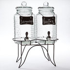 Home Essentials Double Jug Beverage Dispenser - This beverage dispenser comes with two jugs, chalkboard signs and a double stand at a great price. It's a wonderful value for someone looking to serve their drinks in style.