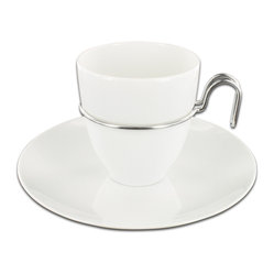 Mono - Gemiini Collection Coffee Cup With Saucer - Pure white porcelain unites with stainless steel in a splendid tango of style. You thought they were 'average cuppa joe' coffee cups and saucers? Not a chance.
